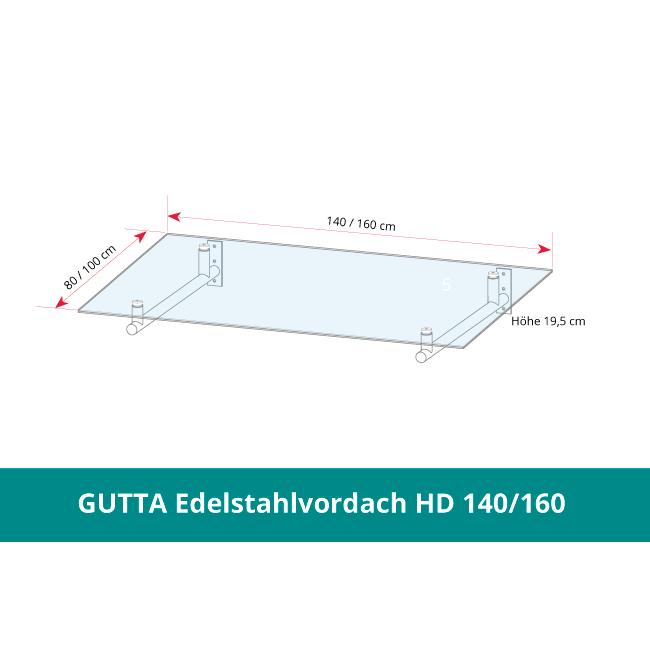 GUTTA Edelstahlvordach HD 140