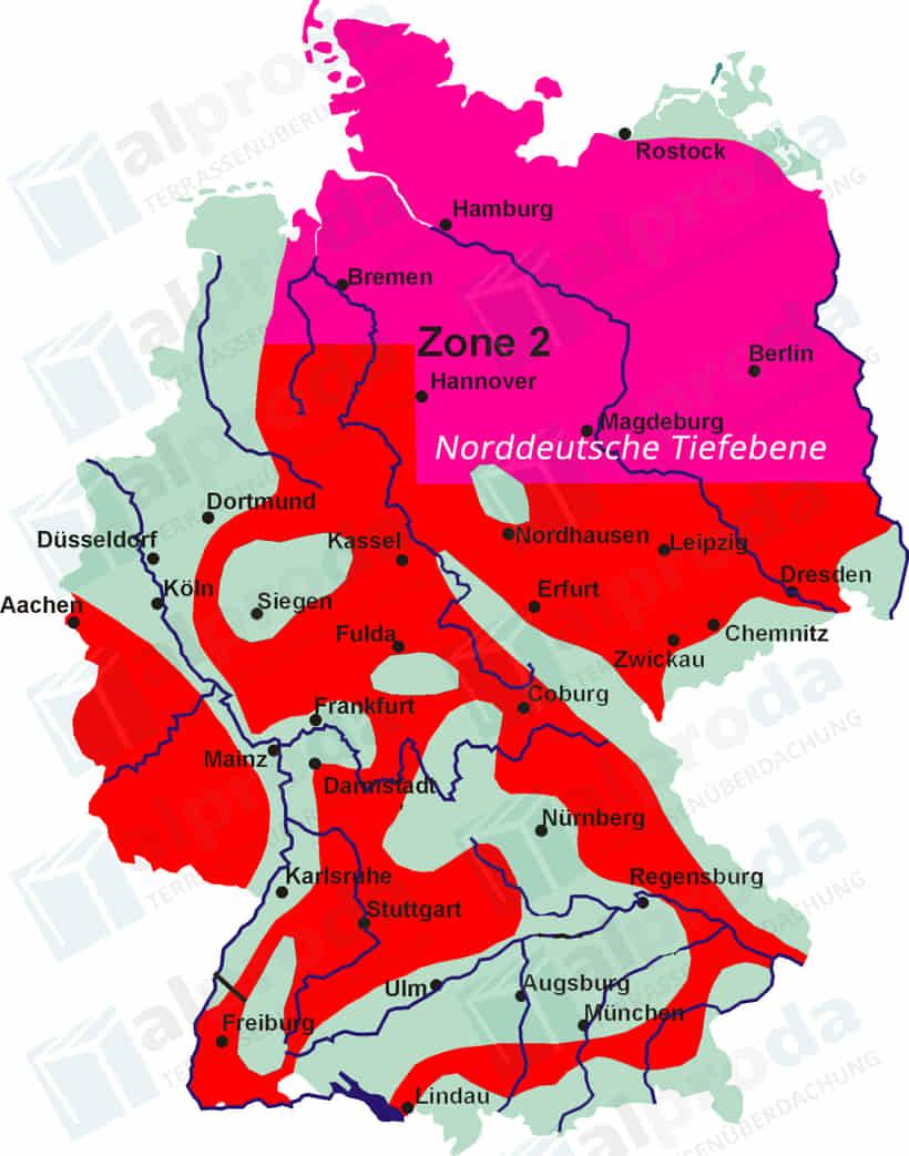 Schneelastzone 2 - Norddeutsche Tiefebene